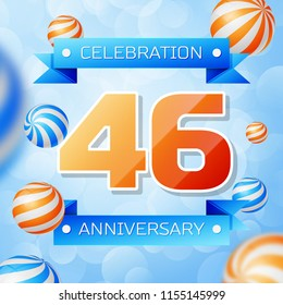 Realistic Forty six Years Anniversary Celebration design banner. Gold numbers and blue ribbons, balloons on blue background. Colorful Vector template elements for your birthday party