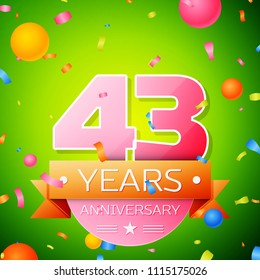 Realistic Forty three Years Anniversary Celebration Design. Pink numbers and golden ribbon, confetti on green background. Colorful Vector template elements for your birthday party