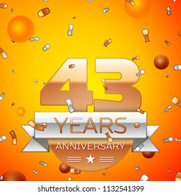 Realistic Forty three Years Anniversary Celebration design banner. Gold numbers and silver ribbon, balloons, confetti on orange background. Colorful Vector template elements for your birthday party