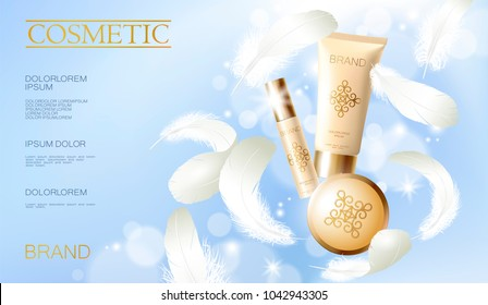 Realistic foundation powder. Tube spray, container golden cosmetic light background blue sunny sky spring white feather. 3d template mock up branding cosmetic makeup product vector illustration