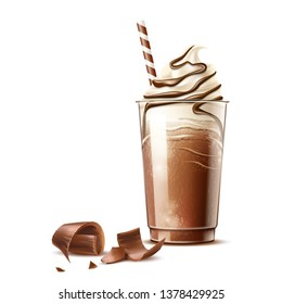 Realistic frappe coffee in disposable plastic cup with straw and chocolate slices. Vector cold coffee with cocoa topping whipped cream. Coffee milkshake cocktail Delicious dessert with chocolate flake