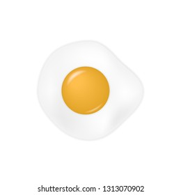 Realistic Fresh Fried egg isolated on white background. Vector