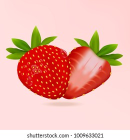 Realistic fresh strawberry with leaves, fruit cut in half. Isolated on light pink background. Vector illustration.