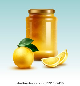 Realistic fresh whole lemon and homemade jam in big jar with cut citrus fruit vector illustration isolated on background