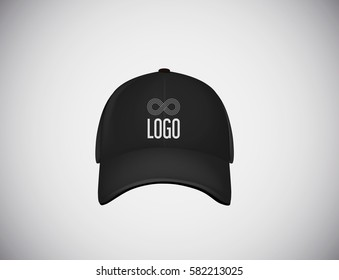 Realistic front view black baseball cap with logo lettering for advertising isolated on white background vector illustration.