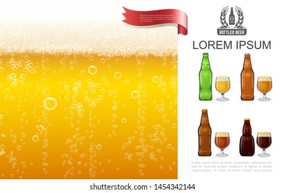 Realistic frothy lager beer concept with bubbles glasses and bottles full of various types of beer vector illustration
