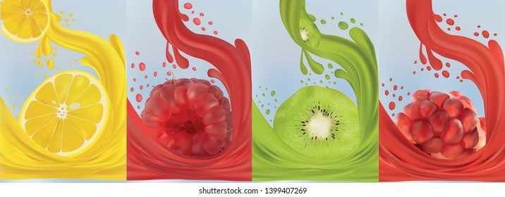 Realistic fruit juice, kiwi, raspberry, pomegranate, lemon. Fresh fruits. Fruit splashes close up. 3d vector illustration.