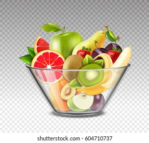 Realistic fruits including apple kiwi banana strawberry plum in glass bowl on transparent background isolated vector illustration