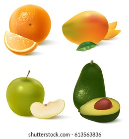 Realistic fruits set isolated on white background. Orange, mango,green apple, avocado. Vector illustration for your design.