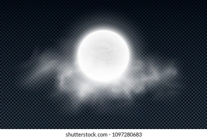 Realistic full moon with clouds isolated on a transparent background. White fog. Dark night. Glowing milk moon. Vector illustration. EPS 10