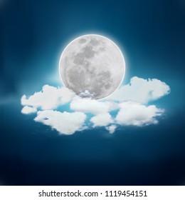 Realistic full moon. Detailed vector illustration.