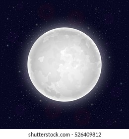 Realistic full moon. Vector illustration