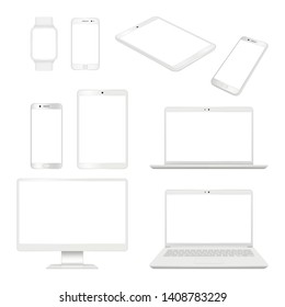 Realistic gadgets. Monitor smartphone laptop and tablet blank notebook vector mockup computer devices. Illustration of smartphone and tablet, computer and notebook, display of mobile