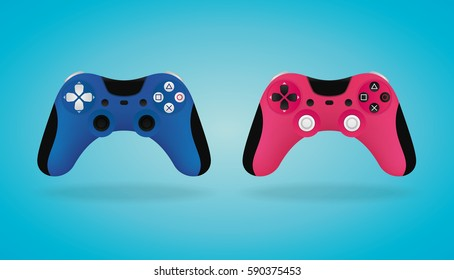 Realistic Gamepad. Blue and pink video game controllers. Vector illustration.