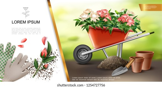 Realistic Gardening Colorful Concept