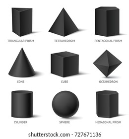 Realistic geometric shapes black set with isolated three-dimensional geometric objects with text and shadows vector illustration