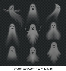 Realistic ghost. Scary halloween apparition face, ghostly phantom fly figure or night eerie dead ghoul, evil spooky poltergeist ghosts humor october holiday vector isolated icon set