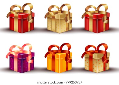 Realistic gift boxes set isolated on white Vector detailed illustrations