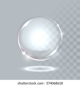 Realistic glass ball sphere with transparent effect. Water soap bubble. Vector illustration EPS 10