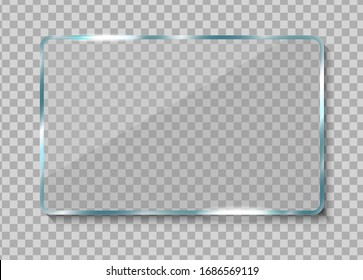 Realistic glass banner. Clear glass frame with reflection. Reflecting transparent 3d window vector illustration.