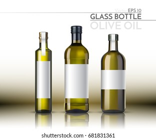 A realistic glass bottle. Olive oil. Vector illustration
