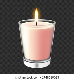 Realistic glass candlestick. Flaming wax candle in glass jar, romantic and cozy aroma burning candlelight vector illustration. Bright realistic romantic candlelight, fire decoration in glass