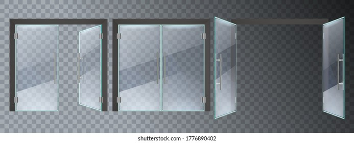 リアルなガラスのドア。 玄関のモダンなガラスドア、オフィス、またはショッピングモールの鉄骨フレームの接写とオープンドアのベクターイラストセット。 入り口のガラス戸、空の透明なEnter