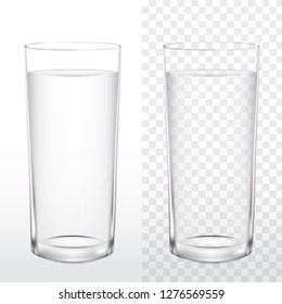 Realistic glass of drinking water on white and transparent background, vector illustration 3d