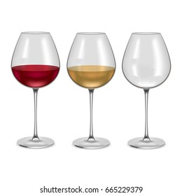 Realistic Glass Empty and with Red or White Wine Set Alcohol Drink. Vector illustration