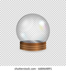 Realistic glass empty snow globe isolated on transparent background.