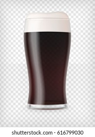 Realistic glass filled with dark stout beer with bubbles and foam. Transparent vector illustration