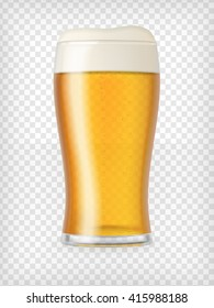 Realistic glass filled with light lager beer with bubbles and foam. Transparent vector illustration