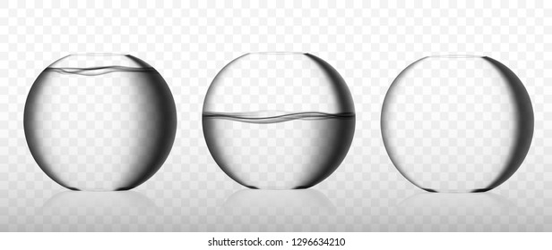 Realistic glass fishbowl collection with clean water and empty one. Round aquarium or fish bowl against grey checkered background realistic 3d vector illustration