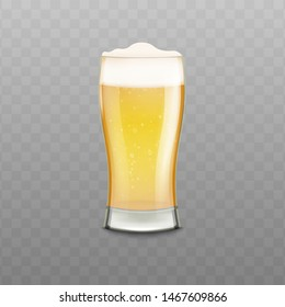 Realistic glass full of beer with white foam isolated on transparent background. Golden yellow alcohol drink filled to brim with bubbly texture liquid and froth - vector illustration