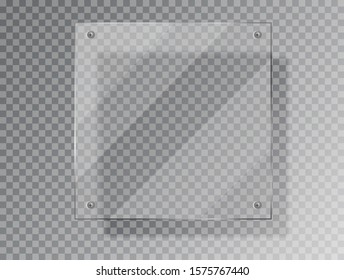 Realistic Glass plate of square shape on transparent background. Acrylic and glass texture with glares and light. Realistic glass window or frame. Vector Illustration 10 EPS Isolated