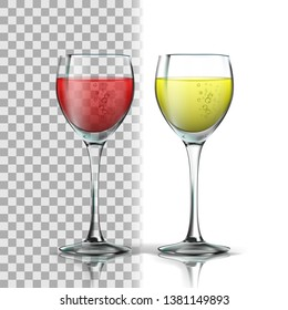 Realistic Glass With Red And White Wine Vector. Full Glasswine With Wine. Production From Fermented Grape Alcoholic Drink With Bubbles. Isolated On Transparency Grid Background. 3d Illustration
