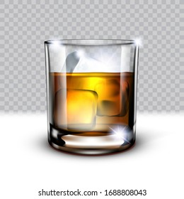 Realistic Glass Of Scotch Whiskey And Ice In It On Transparent Background. EPS10 Vector