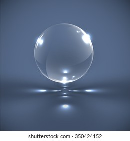 Realistic glass sphere, vector