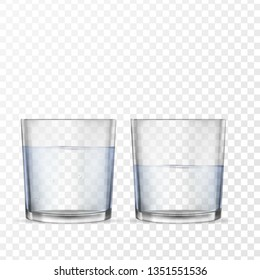 Realistic glasses for drinks with water cups set. 3D transparent dishes for water juice, bar drinks and non-alcoholic, alcoholic beverages. Empty, half and full water glasses.