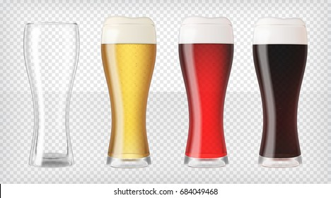 Realistic glasses filled with red, dark, blond beer with bubbles and foam and an empty glass. Transparent vector illustration