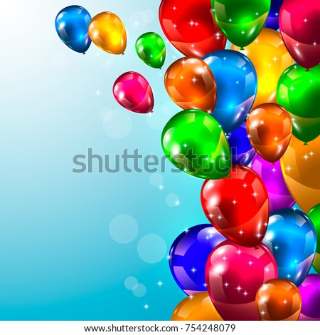 Realistic Glossy Balloons Frame Border On Stock Vector (Royalty Free ...