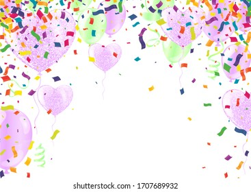 Realistic glossy Birthday poster with flying balloons. EPS 10