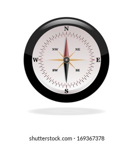 realistic glossy compass. vector illustration on white background