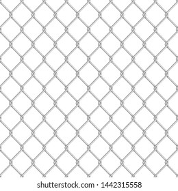 Realistic glossy metal chain link fence seamless pattern isolated on white