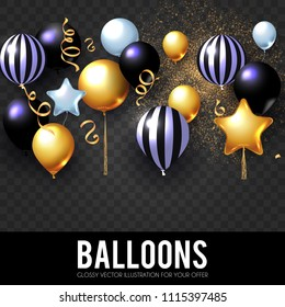 Realistic Glossy and Transparent Balloons with Confetti. Holiday, Sale and Party Decoration. Birtday. Wedding, Greetings, Congratulations, Anniversary, Win and so on. Vector illustration