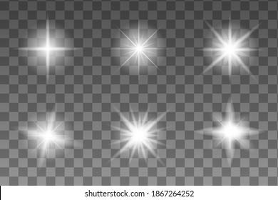 Realistic realistic glow star for decorative design. Abstract rainbow. Explosion effect. Shine, glare, flare, flash illustration. Bright sun.