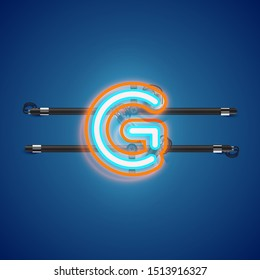 Realistic glowing double neon 'G' charcter from a fontset, vector illustration
