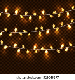 Realistic glowing garland on a transparent background. Vector illustration. Decoration New Year holiday and Christmas