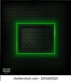 Realistic glowing neon frame on brick wall.
