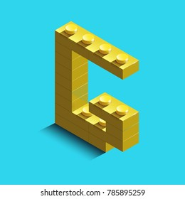 Realistic  gold 3d isometric letter G of the alphabet from constructor bricks. Yellow 3d isometric plastic letter from the building blocks. Colorful character of alphabet letter font.